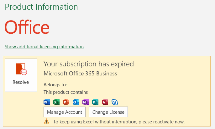 Microsoft Office Expired Subscription