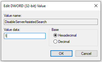 Registry Add DWORD DisableServerAssistedSearch